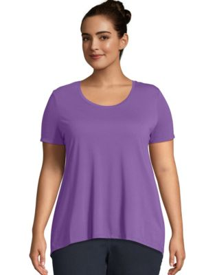 Just My Size Pleat Back Hi-Lo Hem Top
