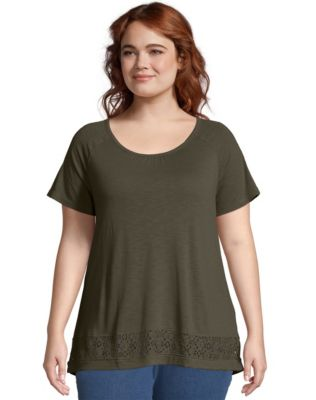 JMS Lace Panel Short Sleeve Top