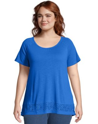 Just My Size Lace Panel Short Sleeve Top