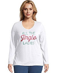 JMS All the Jingle Long Sleeve V-Neck Tee