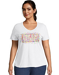 JMS Today Is My Birthday V-Neck Short Sleeve Tee