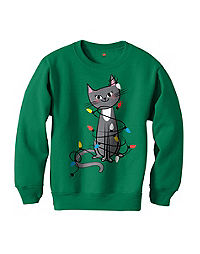 Hanes Girls' Festive Kitty Sweatshirt