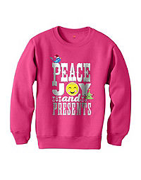 Hanes Girls' Peace and Presents Sweatshirt