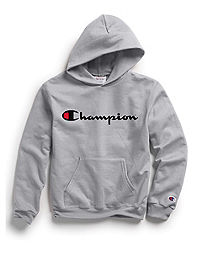 752b384e24037 Champion Youth Fleece Pullover Hoodie, Script Logo