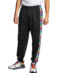 Men's Champion Life Tricot Track Pants, Pop Color Logo Taping