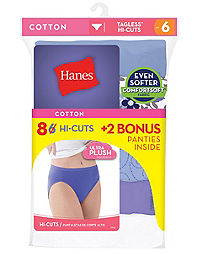 Hanes Women's Cotton Hi-Cut Panties 8-Pack (6 +2 Free Bonus Pack)