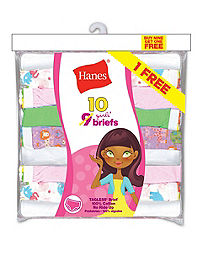 Hanes Girls' ComfortSoft® Briefs 10-Pack (Includes 1 Free Bonus Bikini Brief)