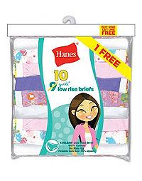 Hanes Girls' ComfortSoft® Low Rise Briefs 10-Pack (Includes 1 Free Bonus Bikini Brief)
