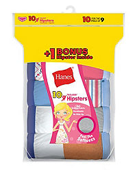 Hanes Girls' ComfortSoft® No Ride Up Hipster 10-Pack (Includes 1 Free Bonus Hipster Brief)