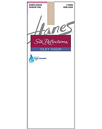 Hanes Silk Reflections Silky Sheer Knee Highs 2-Pack