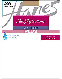 Hanes Silk Reflections Plus Sheer Control Top Enhanced Toe Pantyhose