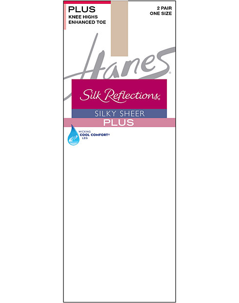 Hanes Silk Reflections Plus Knee Highs Enhanced Toe 2-Pack