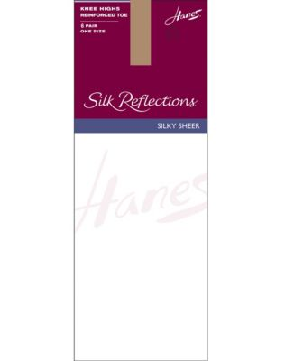 Hanes Silk Reflections  Knee Highs, Reinforced Toe  6-Pack