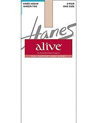 283f34f7bab Hanes Alive Full Support Sheer Knee Highs 2-Pack