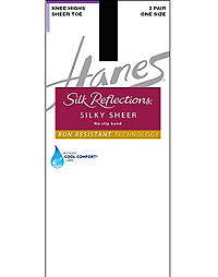 Hanes Silk Reflections Silky Sheer No-Slip Band Knee Highs with Run Resistant Technology 2-Pair Pack
