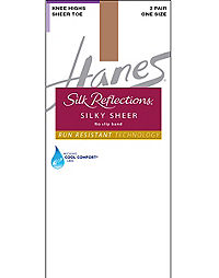 Hanes Silk Reflections Silky Sheer No-Slip Band Knee Highs with Run Resistant Technology 2-Pack