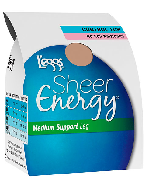 L'eggs  Sheer Energy Waistband Free Control Top, Sheer Toe Pantyhose 4-Pack