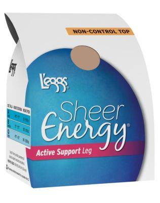 L'eggs Sheer Energy Active Support Regular, Reinforced Toe Pantyhose 4-Pack
