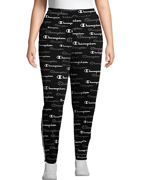 Champion Women's Plus Track Pants, All Over Logo