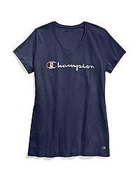Champion Women's Plus Jersey V-Neck Tee, Script Logo
