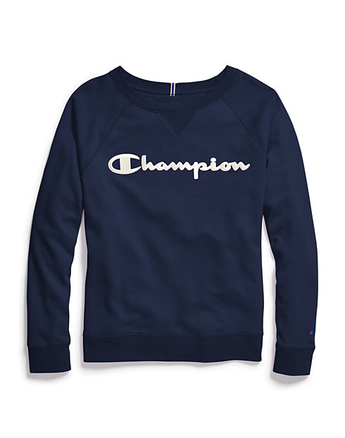 Champion Women's Plus Heritage French Terry Crew, Satin Stitch Logo