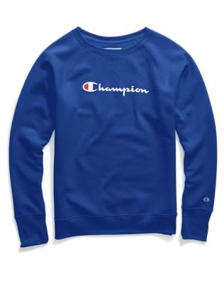 Champion Women's Plus Powerblend® Fleece Crew, Script Logo