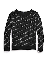 Champion Women's Plus Heritage French Terry Print Crew