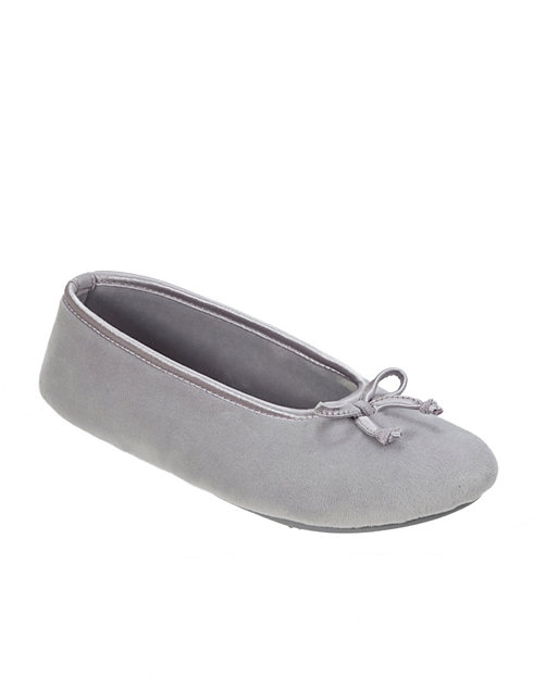 Dearfoams Women's Microfiber Velour Ballerina Slipper with Memory Foam