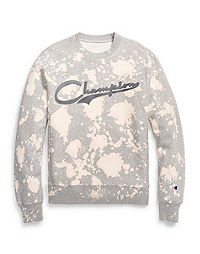 Champion Life® Men's Reverse Weave® Custom Bleach Splatter Crew, Varsity Logo