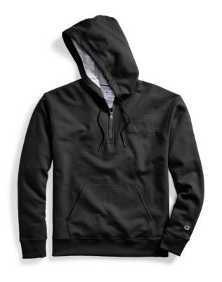 Champion Men's Powerblend® Fleece Quarter Zip Hoodie, Embroidered Logo