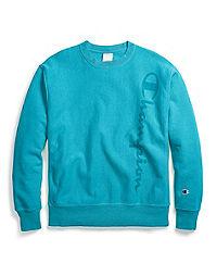 Champion Life® Men's Garment Dyed Reverse Weave® Crew, Vertical Clear Gel Logo