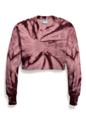 Exclusive Champion Life® Women's Reverse Weave® Cropped Cut-Off Tie Dye Crew