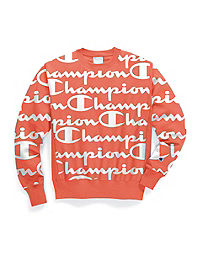Champion Life® Men's Reverse Weave® Crew, All-over Logo