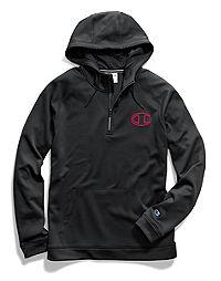 Champion Men's Stadium Fleece Quarter Zip Hood, Logo Applique