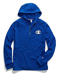Champion Men's Stadium Fleece Quarter Zip Hood, Logo Applique