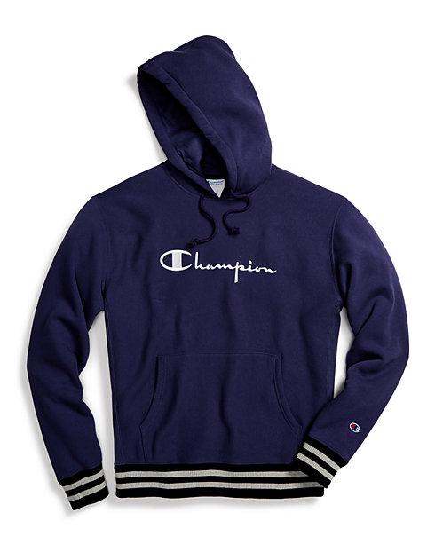 bee923870953 Champion Life® Men's Reverse Weave® Yarn Dye Rib Trim Pullover Hoodie,  Vintage Logo   Champion