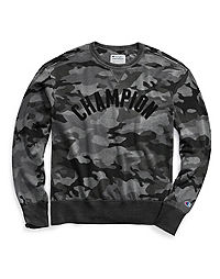 Champion Men's Vintage Dye Fleece Camo Crew, Arch Logo
