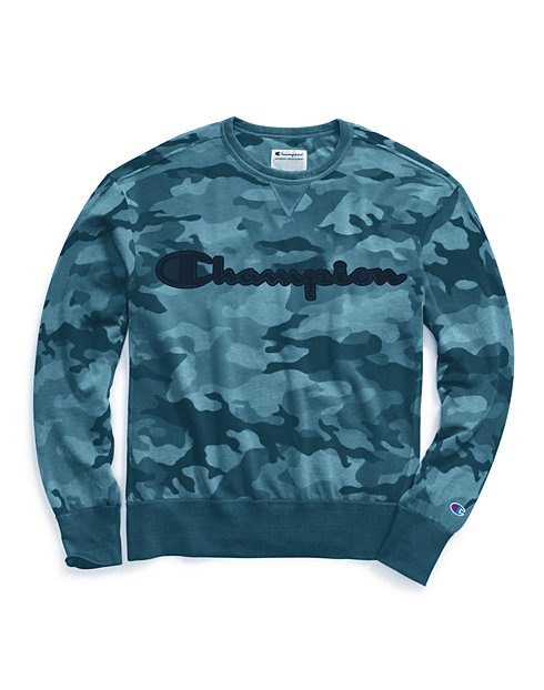 Champion Men's Vintage Dye Fleece Camo Crew, Felt Logo