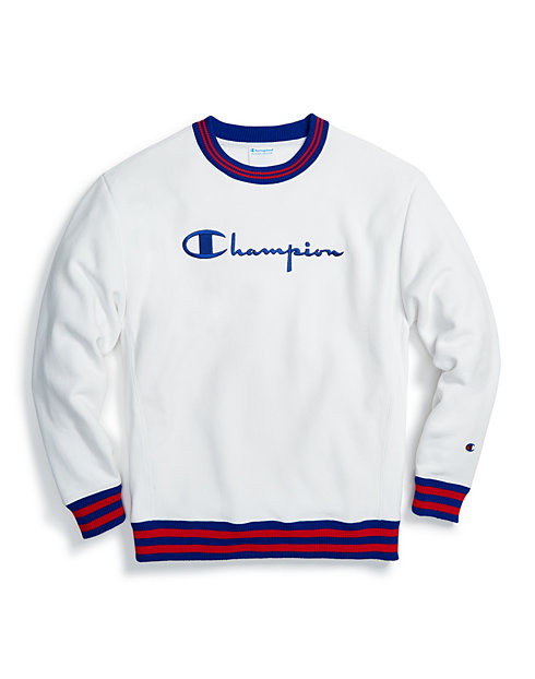 da2a8b33f0a3 Champion Life® Men's Reverse Weave® Yarn Dye Rib Trim Crew, Vintage Logo |  Champion
