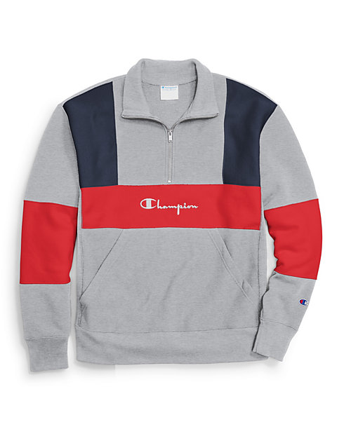 Champion Reverse Weave Half Zip Sweatshirt Oxford Grey