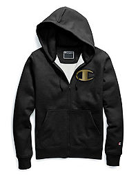 Champion Life® Men's Super Fleece 2.0 Full Zip Hood, Metallic Gold C Logo