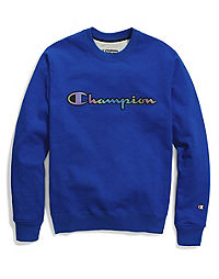 Champion Life® Men's Super Fleece 2.0 Crew, Reflective Iridescent Logo