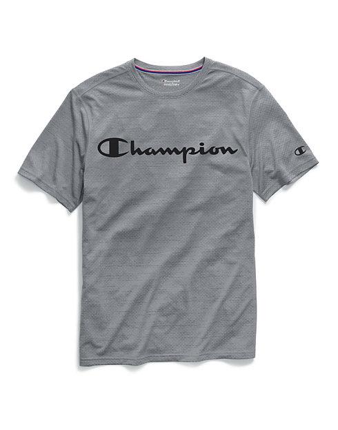 e286012128c56a Champion Men's Double Dry® Heather Mesh Textured Tee, Script Logo | Champion