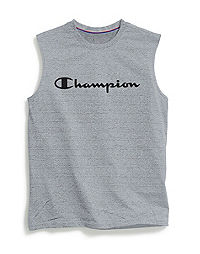 Champion Men's Double Dry® Heather Mesh Textured Muscle Tee, Script Logo