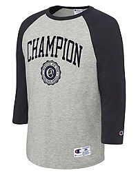 Champion Men's Heritage Baseball Slub Tee, Collegiate Logo With Crest