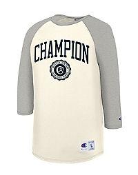 Champion Men's Heritage Baseball Slub Tee, Collegiate Logo With Crest