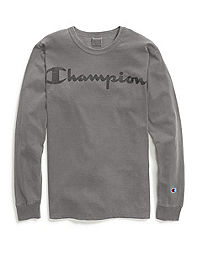 Champion Life® Men's Garment Dyed Long-Sleeve Tee, Clear Gel Logo