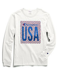 Champion Life® Men's Long-Sleeve Tee, C Logo Quilt USA