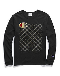 Champion Life® Men's Long-Sleeve Tee, C Logo Script Quilt