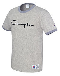 Champion Men's Heritage Ringer Tee, Flocked Script Logo